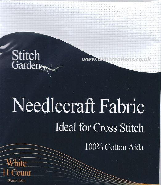 Stitch Garden  White 11 Count Aida Fabric